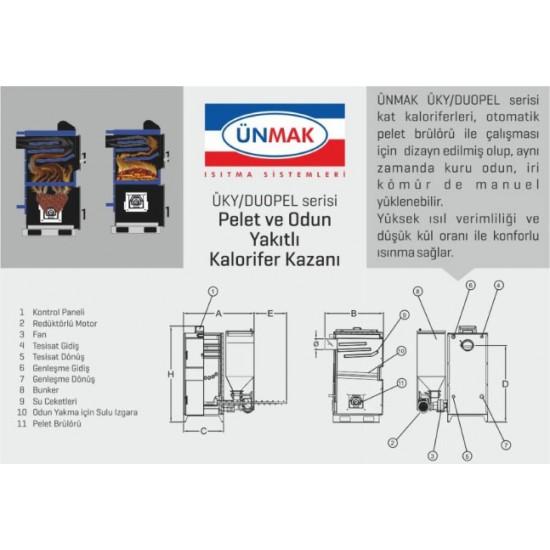 Ünmak 100 KW Katı Yakıtlı Peletli Kazan ÜKY/DUOPEL-100