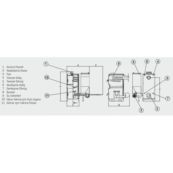 Ünmak 25000 Kcal Katı Yakıtlı Manuel ve Stokerli(Otomatik Yüklemeli) Kazan ÜKY/DUO-25