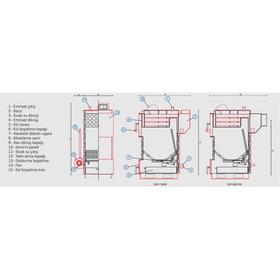 Ünmak 45000 Kcal Katı Yakıtlı Manuel Kazan ÜKY-45